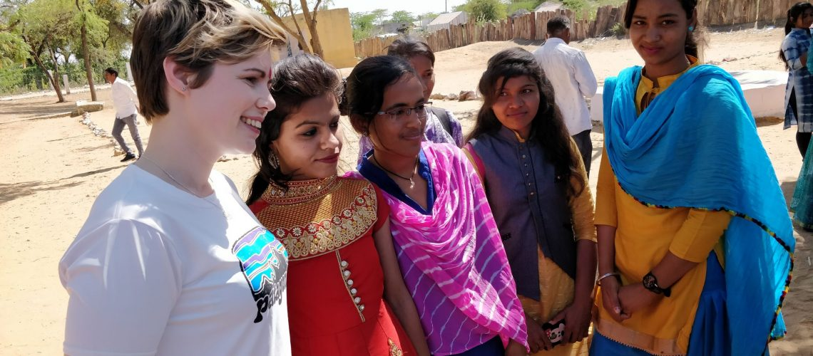 With girls in India